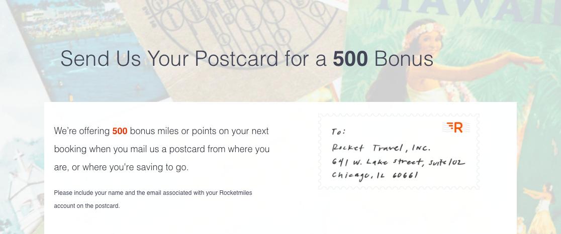 Postkarten für Rocketmiles