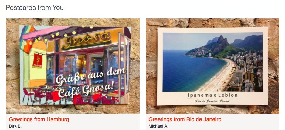besonders schöne Postkarten werden auf Rocketmiles gepostet