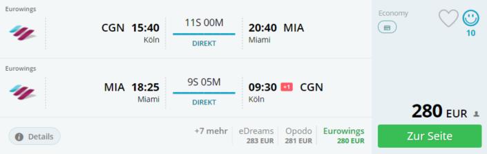 günstig per Direktflug nach Miami