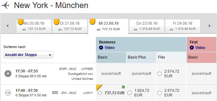 Lufthansa Business Class günstig
