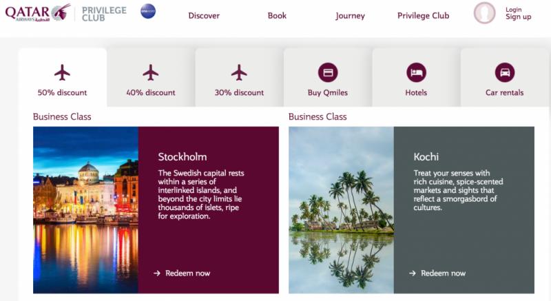 Meilenschnäppchen bei Qatar Airways
