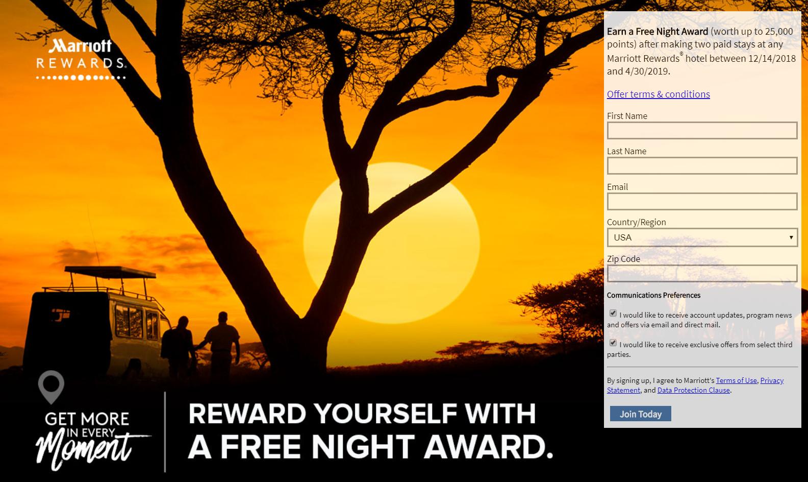 Kostenlose Übernachtung mit Marriott Rewards