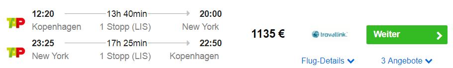 Kopenhagen nach New York in der Business Class für 1.200 Euro