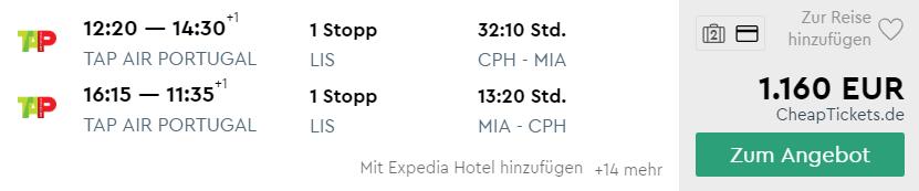 Kopenhagen nach Miami in der Business Class für 1.200 Euro