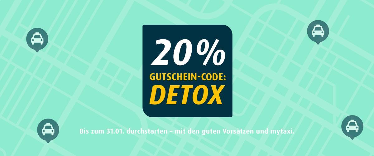 mytaxi Gutschein Januar 2019 - 20% bei der nächsten Fahrt sparen mit DETOX