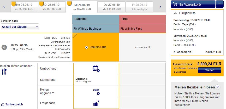 Lufthansa Business Class Special