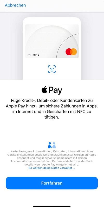 Bei Apple Pay American Express auswählen