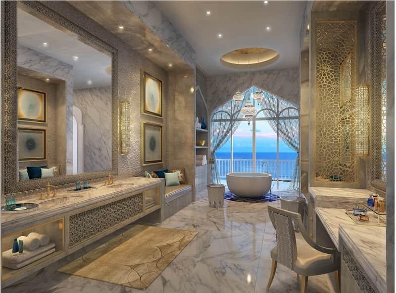 Aussicht vom Badezimmer aufs Meer